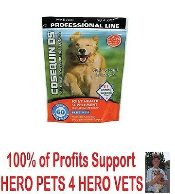 Cosequin DS 60 120+ Soft Chews MSM Boswellia Max Strength Dogs Joint Supplement