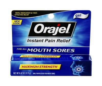 Orajel Mouth Sores, Instant Pain Relief Gel - 0.42 Oz (Pack of 3)