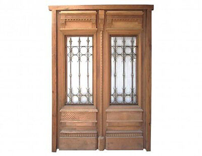 Double Entrance Door with Wrought Iron Insert #1907