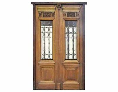 Antique Double Front Door w/ Wrought Iron Inserts #D1034