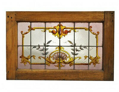 Antique Hand Painted Leaded Glass Panel #A4010