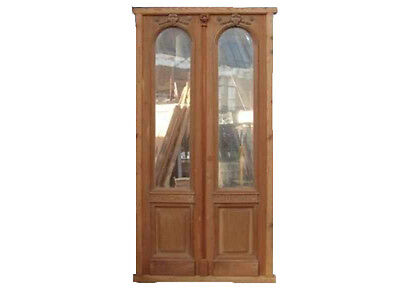 Double Glass Door With Beveled Glasses Installed #B1366