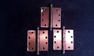"RARE Vintage HAGER Brass Door Hinge Cannon Ball Tip 4"" x  4"" Lot of 3"