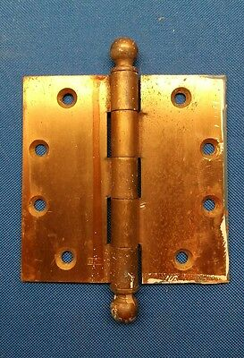 "RARE Vintage HAGER Brass Door Hinge Cannon Ball Tip 4"" x  4"""