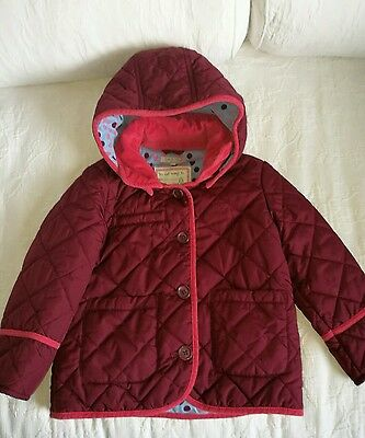 Girls Marks & Spencer burgundy quilted jacket age 4 to 5