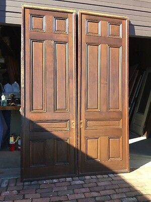 "Ar 139 1 Set Antique Raised Panel Pine Pocket Doors 70"" X 106"""