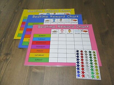 Bedtime Reward Chart Re-usable - Customise For Free - ADHD Star Sticks Kids