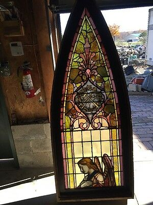 Sg 909 Antique Gothic Arch With Angel Stainglass Window