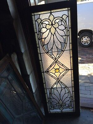 Sg 908 Antique Stained Glass Transom Window With Large Faceted Jewel In Center