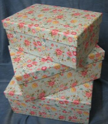 Set Of 3 Medium Duck Egg Blue Ditsy Floral Gift / Storage Boxes