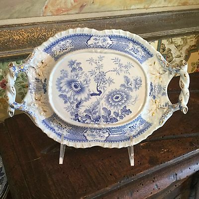 Blue & White Antique English Small Platter Tray 19th Century