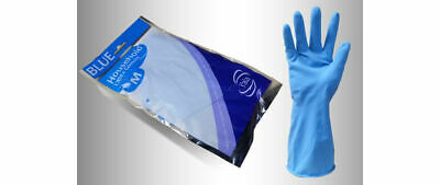 24 Pairs Yala FLOCK LINED Blue Household Rubber Latex Washing Up Cleaning Gloves