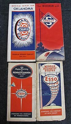 Lot of 4 Vintage Road Maps ESSO, SKELLY, CHAMPLIN - OK, WI, NJ, PA (AB501)