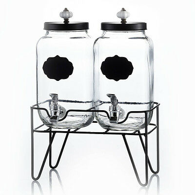 Style Setter Manchester Beverage Dispensers w Stand & Ceramic Knob (Set of 2)