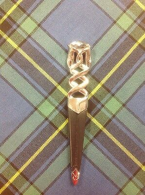 Safety Sgian Dubh with Chrome Finish For Kilt Outfit-Highland Wear