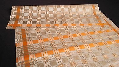 old unused linen runner nature coloured with yellow squares