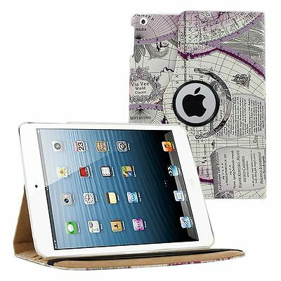 360 PU Leather Rotating Folio Folding Case Cover Stand Map For Apple iPad 2 3 4