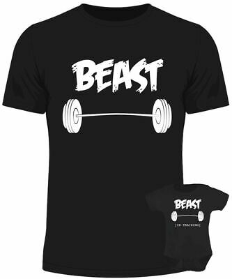 Beast in training baby dad matching set baby grow t shirt father son
