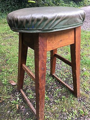Antique Stool Green Leather Seat GWR Railway Workshops Swindon Industrial RARE