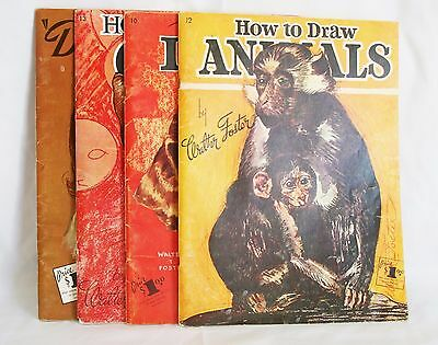 Walter T Foster Vintage Art Books How to Draw Lot of 4 Titles