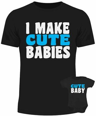 I make cute babies baby dad matching set baby grow t shirt father son