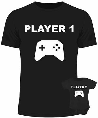 player 1 player 2 gaming baby dad matching set baby grow t shirt father son