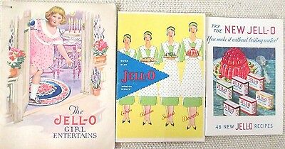 Lot of 3: Jello Recipe Booklet Wonder Dishes; Girl Entertains; New Jell-o - 1930