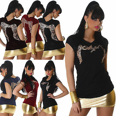 New Women Clubbing Top Sexy Ladies Shirt Gold Wing Party Blouse Size 6 8 10 12