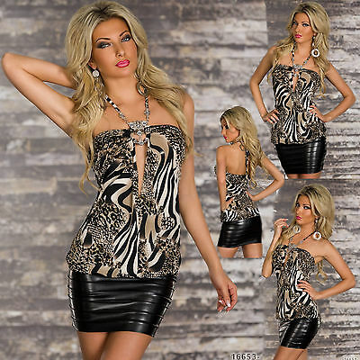 New Women Clubbing Top Shirt Leo Print Sexy Ladies Party Blouse Size 6 8 10 S M
