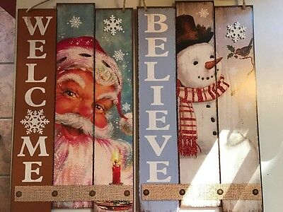 set of 2 Gorgeous RUSTIC wood Christmas signs Decorations Santa & Snowman