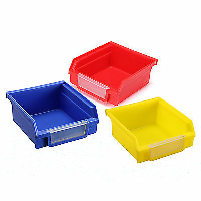 Blue/Red/Yellow Plastic Quantum Storage Systems Ultra Stack and Hang Bins