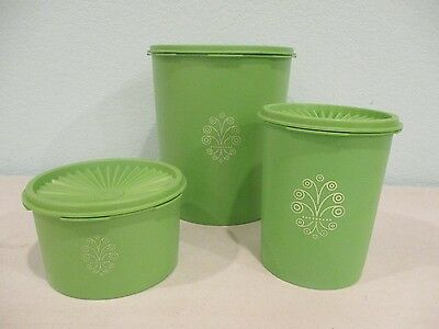 Tupperware apple green canister/storage pieces