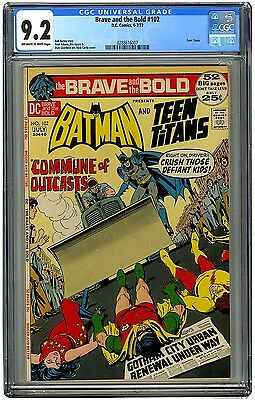 Brave and the Bold 102 CGC 9.2 OW/W Batman, Teen Titans, Neal Adams Art