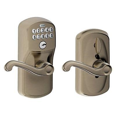 Schlage.Plymouth Antique Pewter Keypad Entry with Flair Interior Lever