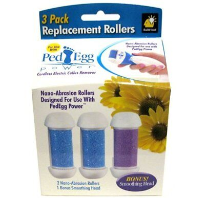 PedEgg Power Replacement Rollers by BulbHead pack of 3 New