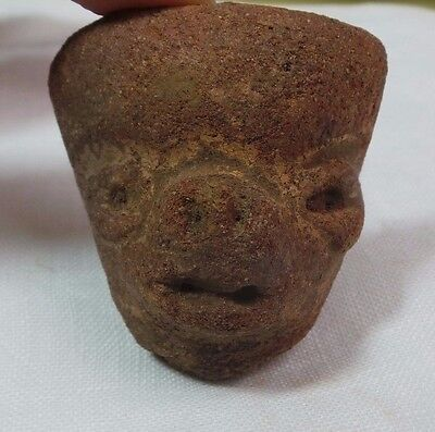 Pre Columbian Colombian Mayan Terracotta Figure  Head #4