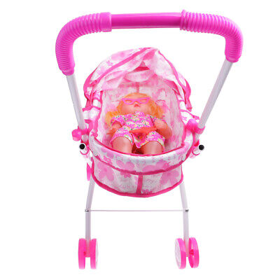 Simulation Pushchair Toy w/ Baby Doll Stroller Accessory Kids Outdoor Play