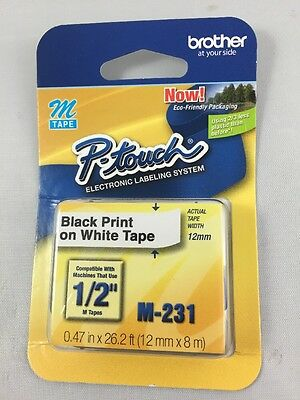 Brother P-touch M Tape Black Print On White Tape New In Package M-231