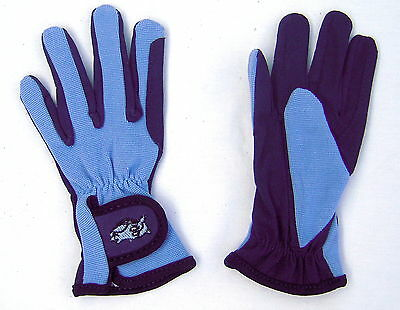 Childs Youth Equestrian Glove Embroidered Horse Head Sky Blue Navy Medium