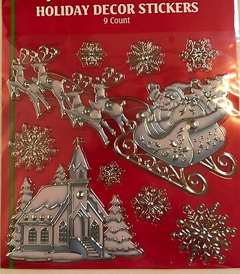 Large Embossed Foil Santas sleigh ,church,Window clings  christmas Decoration