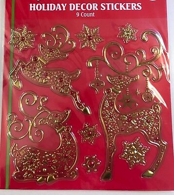 Large Embossed Foil Gold & red Reindeer ,Window clings  christmas Decoration