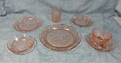 Sharon/Cabbage Rose Depression Glass 7pc Place Setting