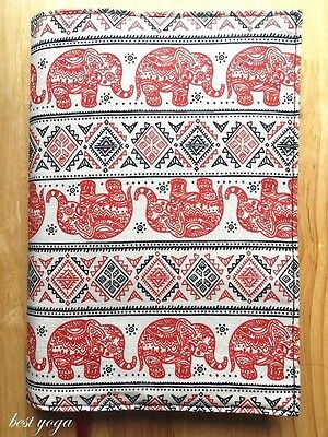 Handmade Red Elephant Printing Fabric Book Cover PaperBack With BookMark Ribbon