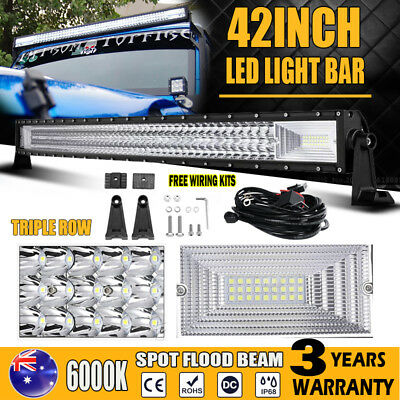 "42Inch 648W Philips Curved Spot Flood Led Light Bar Offroad+4"" CREE 30W Lamp Bar"