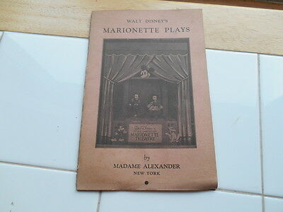 RARE Vintage 1930s 1940s Walt Disney Marionette Plays by Madame Alexander Book
