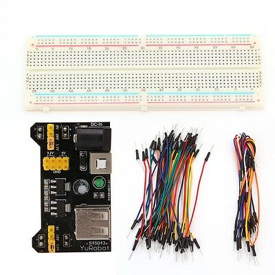 MB102 Power Supply Module 3.3V 5V+830 Point Breadboard Board +65PCS Jumper cable