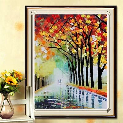 Lover Walking In The Rain Ribbon Embroidery Needlework Craft Kit Room Decoration