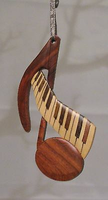 Natural Color Hardwood Carved Intarsia Wood Ornament  Music Note And Keyboard