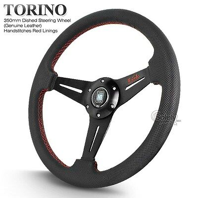 350mm Nardi Dished Black Leather Red Stitches Steering Wheel with Horn
