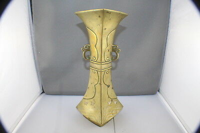 "Antique Japanese Silver Inlaid Brass Vase    10"" Tall"